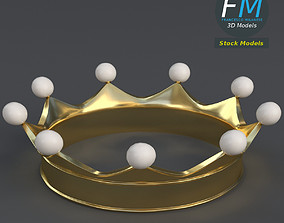 3D Gold crown with pearls