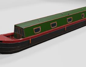 3D model Narrowboat low poly