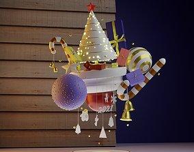 Christmas Tree 3D snowman