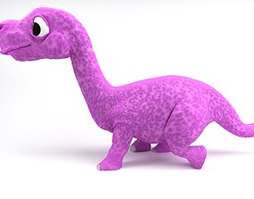 Rigged and Animated Cartoon Dinosaur 3D isolated