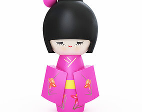 Japanese Wooden Doll 3D