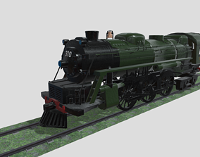 3D model VR / AR ready Steam Engine Train Wagon