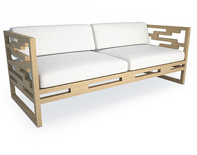 Kontiki Wooden Outdoor Sofa 3D model
