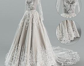 3D Wedding dress with train