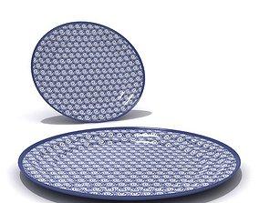 Blue Ornamented Plates 3D model