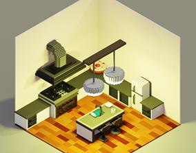 3D model Voxel Kitchen