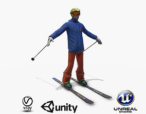 3D model game-ready Skiers