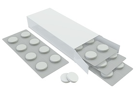 3D model Pills box opened with pills blister