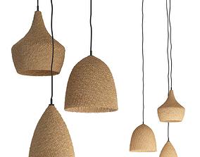 Daniella Witte Wicker rattan chandeliers 3D