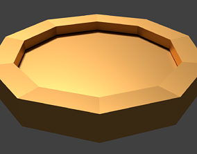 Low Poly Gold Coin 3D asset