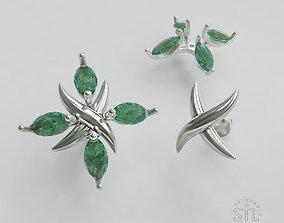 3D printable model emeralt X earrings