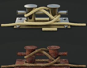 Mooring Sea Bollard with Rope Knot 2 3D model