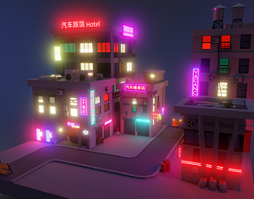 3D model Cyber city neon buildings