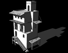 3D model Old 3-level house