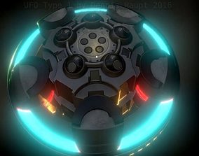 3D model UFO Type 1 Animated and Game Ready