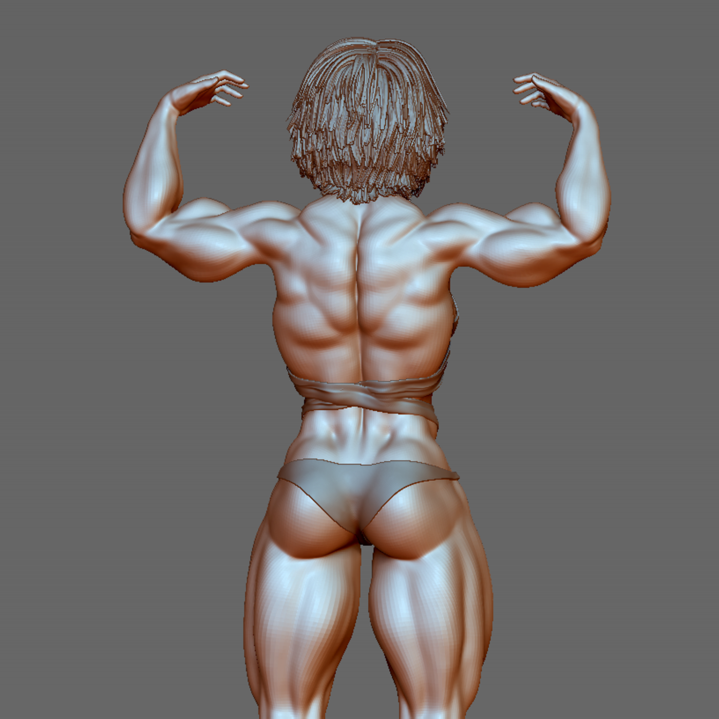 Bodybuilder girl poses  character 3D model