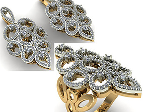 womanring 3D WOMAN SET RING AND EARRINGS