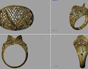 jewel 3D printable model owl ring