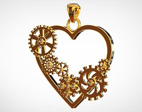 3D print model Heart And Gears Pendant gears