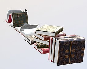 3D asset a collection of books in different
