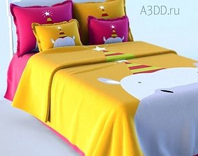 3D model Double Bed Bed Linen teenbed