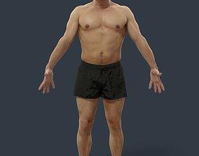 Animated Beach Man Body Builder Swimming shorts 3D asset 4