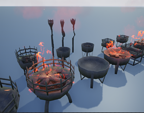 Medieval Iron Firepit and Torch 3D model