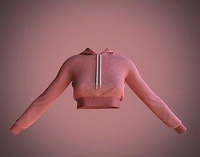 3D model sport crop hoodie
