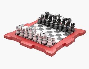 3D asset Lowpoly Chess Set