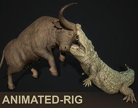 3D model Crocodile hunting buffalo animated