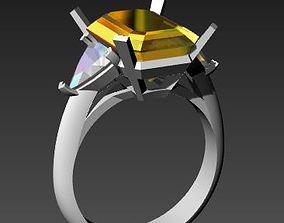 anello per taglio smeraldo e triangoli laterali 3D