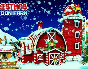 3D asset animated Cartoon Christmas Farm
