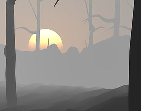 3D Sunset with fog and bare trees