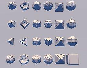 3D asset Sci Fi Set Object 24 Pieces - Pyramid Sphere 3