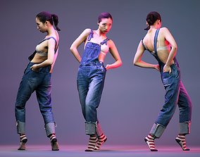 3D asset Asian model stepping in Jeans Salopet and Red 1
