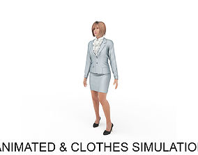 office woman stand idle 3D