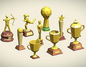 3D model Low Poly Trophy Pack 9 trophies
