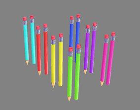 3D asset Cartoon color pencils