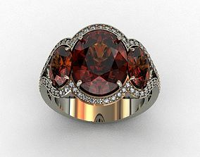 3D print model Garnet-Mozambique and Diamond Ring
