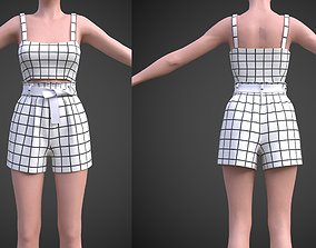 checkered two piece outfit- Plaid Cami Top And 3D model 2