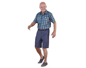 Grandfather Walking 3D asset low-poly