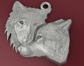 two wolfes pendant man and woman 3D printable model