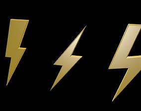3D asset Low poly thunder symbols 1