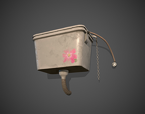 Wall Mounted Toilet Tank 3D asset game-ready