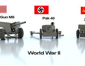 Anti tank guns ww2 3D model