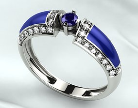 3D print model Sapphire Gold Ring with Enamel