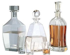 3D asset Glass set of decanters