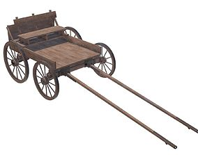 3D wooden cart with bench