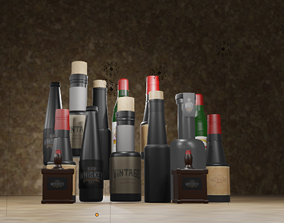 3D brewery Wine Bottles