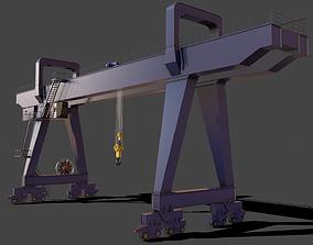 3D model PBR Double Girder Gantry Crane V2 - Blue Dark